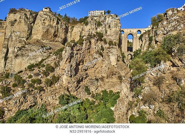 New Bridge and town, Puente Nuevo, Tajo Gorge, Ronda, Malaga-province, Andalusia, Spain