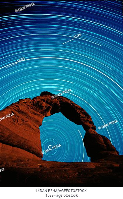 Star trails in Arches National Park. Utah. USA