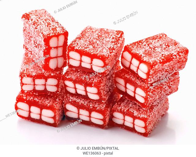 gummy red bricks, covered with sugar