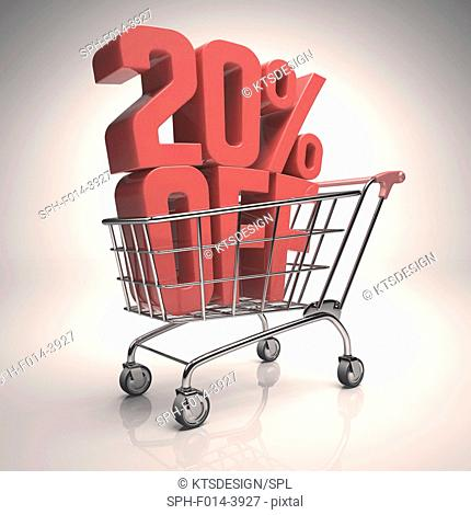 Shopping trolley with 20 per cent off sign, illustration