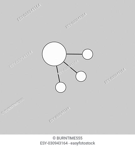 satellite Simple line vector button. Thin line illustration icon. White outline symbol on grey background