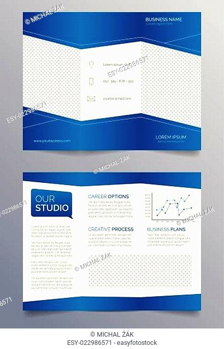 Business trifold brochure template - blue and white sleek modern design