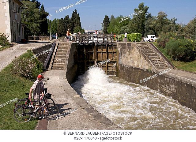 Canal du Midi near Carcassonne. Languedoc. France