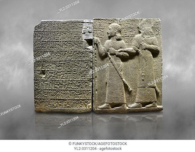 Hittite monumental relief sculpted orthostat stone panel of Royal Buttress. Basalt, Karkamıs, (Kargamıs), Carchemish (Karkemish), 900-700 B. C
