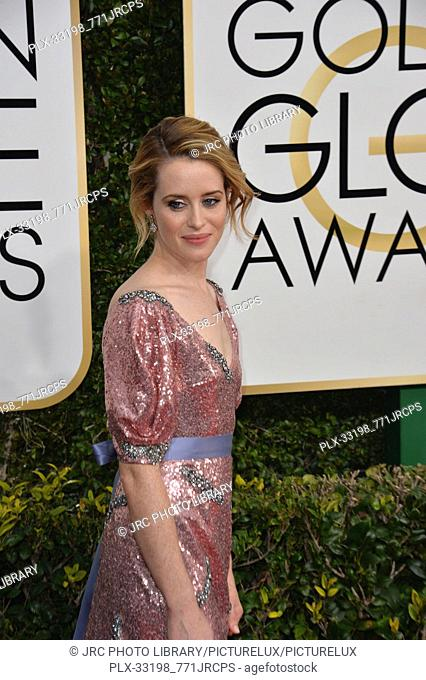 Claire Foy at the 74th Golden Globe Awards at The Beverly Hilton Hotel, Los Angeles, CA , USA , January 8, 2017