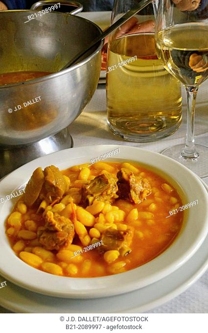 Food: 'fabada' (Spanish beans stew) with cider, Way of St James, Galicia, Spain