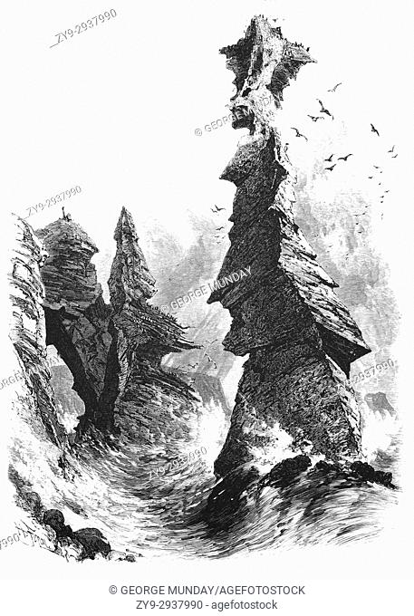 """1870: The """"""""Parson and Clerk"""""""", two sea stacks near Dawlish, a town on the south coast of Devon in England. Named after a local legend concerning the Bishop of..."""