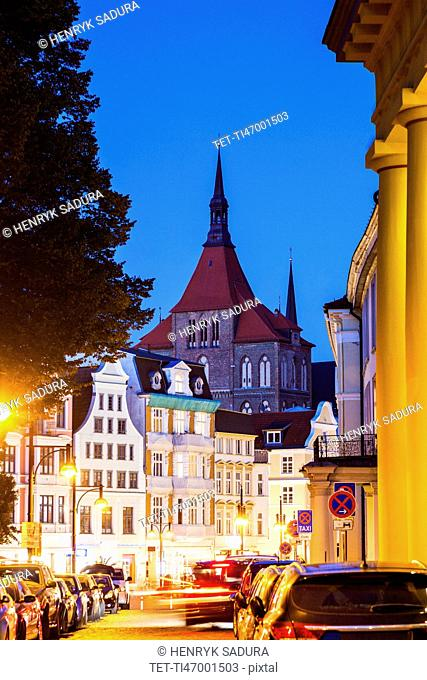 St Mary's Church and architecture of Rostock Old Town Rostock, Mecklenburg-Vorpommern, Germany