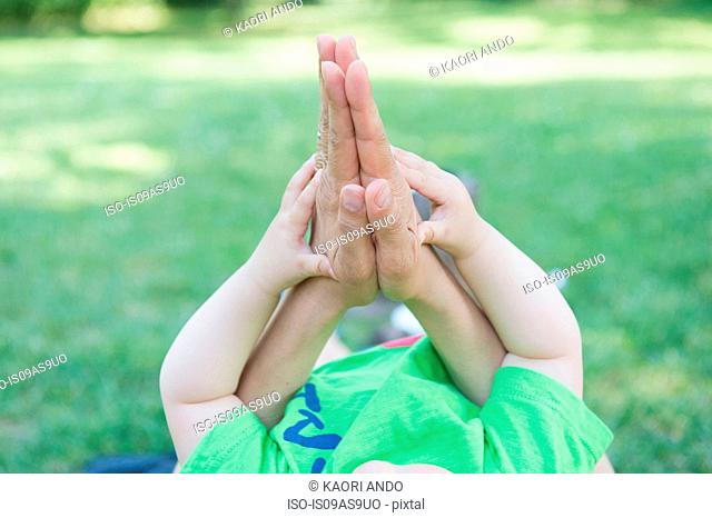 Cropped shot of mothers and baby sons hands together in park