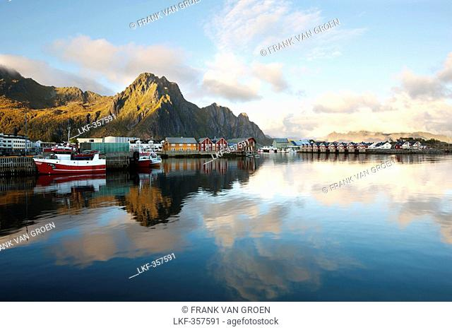 Svolvaer, coastal village and harbour, landscape of the Lofoten islands, Austvagoy, Nordland, Norway, Scandinavia, Europe