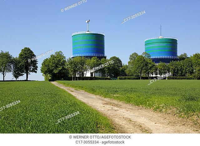 Herten, Scherlebeck, D-Herten, Ruhr area, Westphalia, North Rhine-Westphalia, NRW, D-Herten-Scherlebeck, water towers, twin towers of Gelsenwasser