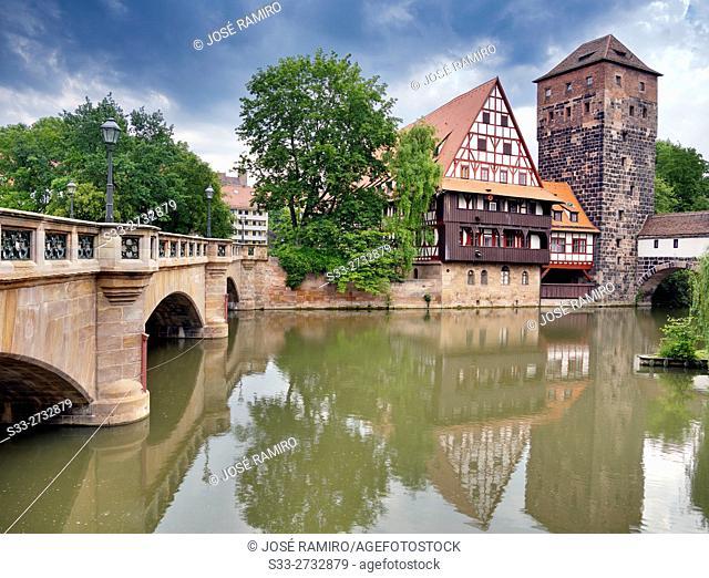 River Pegnitz in Nuremberg. Germany. Europe