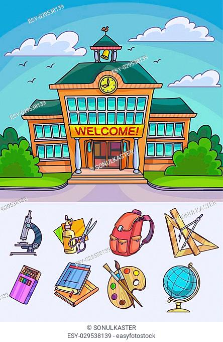 Back to school illustration. Building and supplies learning equipment or office accessories. Vector illustration
