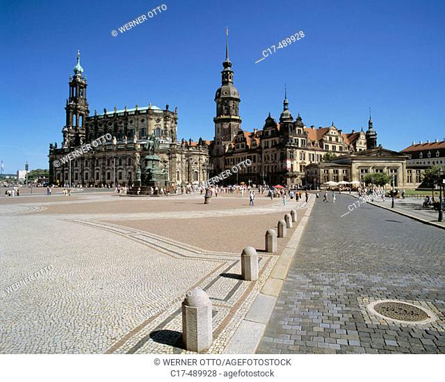 Theatre Square with former court church and Hausmann Tower of the residence castle. Germany, Dresden, Elbe, Saxony