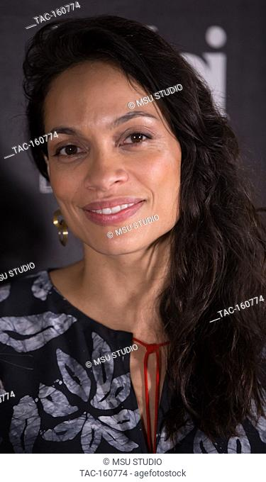 Actress Rosario Dawson honored with The Social Justice Filming In Italy Award at Italian Cultural Institute on February 2, 2018 in Los Angeles, California