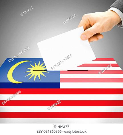 Ballot box painted into national flag colors - Malaysia