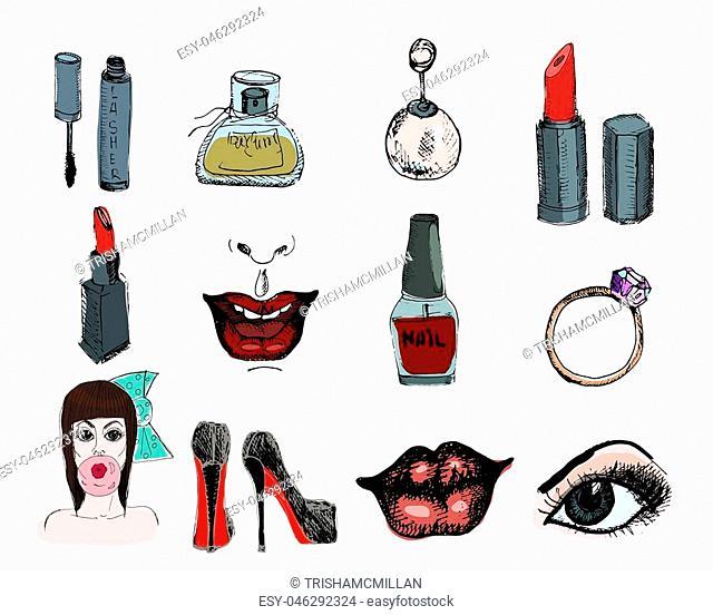 Fashion accessories, cosmetics, jewelry, Vector hand drawn illustration. Glamour set