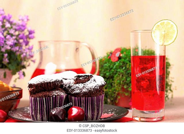 Chocolate muffins and berry drink