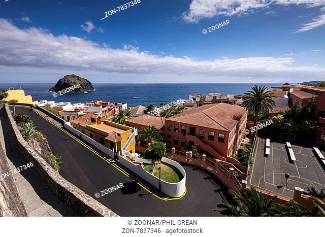 Looking down over a twisting sharp bend road in Garachico, Tenerife, Canary Islands, Spain