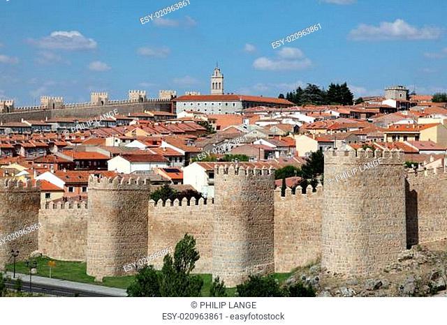 Medieval city walls of Avila, Castilla y Leon, Spain