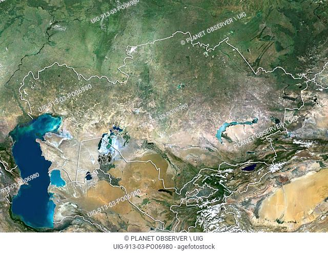 Satellite view of Kazakhstan (with country boundaries). This image was compiled from data acquired by Landsat 8 satellite in 2014