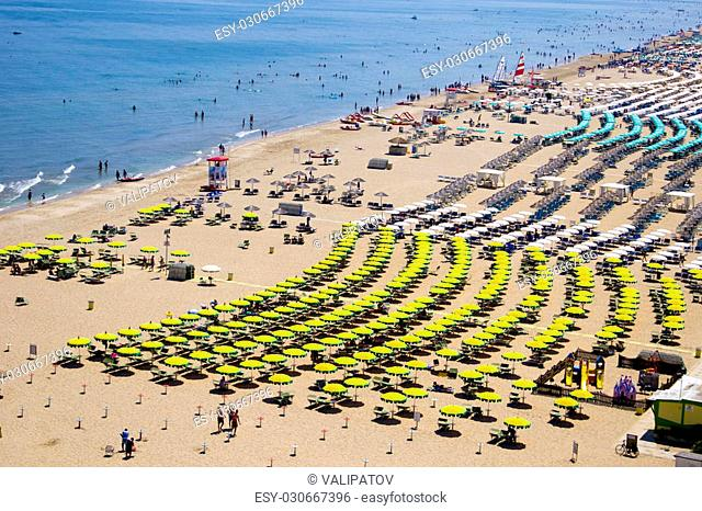 Top view on a sandy beach in Rimini, Italy