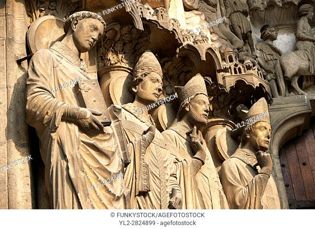 South Porch, Right Portal, Left Jambs. Cathedral of Chartres, France. Gothic statue of the four ?Confessors? important intellectual and spiritual leaders