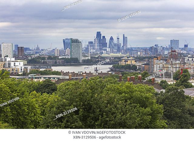 Canary Wharf, cityscape from Greenwich hill, Greenwich, London, England, UK