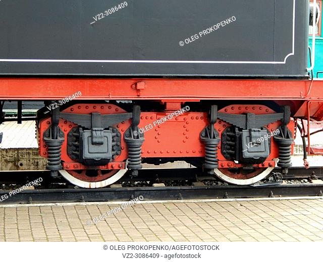 Railway locomotive, wagons in the train