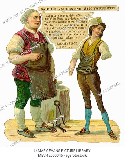 Charles Dickens scrap - Gabriel Varden and Sim Tappertit in the novel Barnaby Rudge, Chapter 4