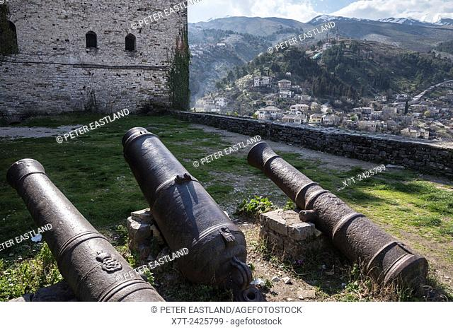 Old cannon barrels in the castle grounds at Gjirokastra in southern Albania