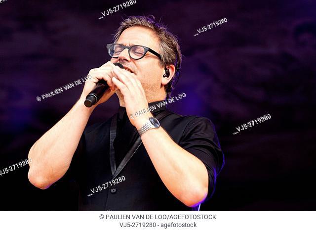 Beek en Donk, Netherlands, Famous dutch singer Guus Meeuwis on stage at Wish Outdoor 2016