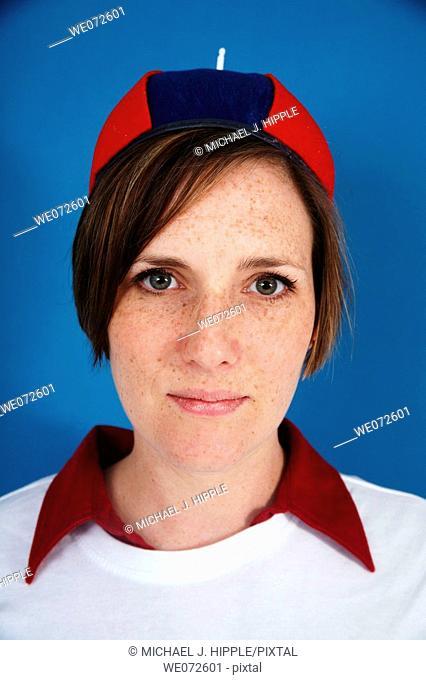 Woman wearing beanie cap