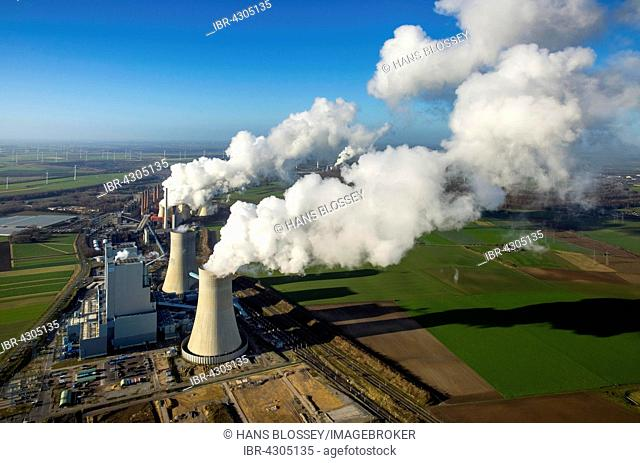 Neurath lignite power plant, RWE Power energy company, vapor cloud, plume, emission, Grevenbroich, Rhineland, North Rhine-Westphalia, Germany
