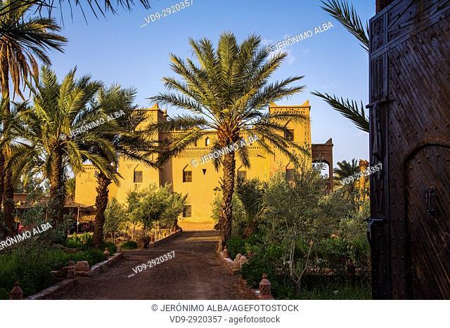 Hotel Espace Kasbah Dar Es Salam, Skoura oasis Palm Grove Palmeral. Morocco, Maghreb North Africa