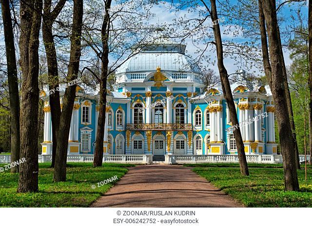Pavilion in Catherine`s park in Tsarskoe Selo near Saint Petersburg