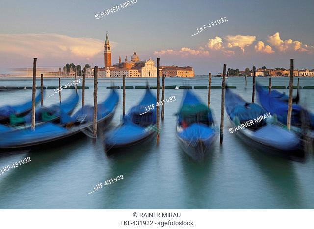 Gondolas next to the Piazza San Marco, San Giorgio Maggiore, San Marco, Venice, Italy
