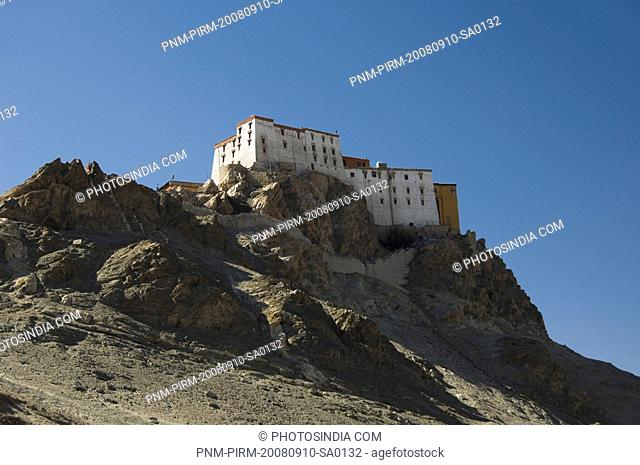 Low angle view of monastery, Thiksey Monastery, Ladakh, Jammu and Kashmir, India