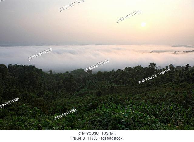Aerial view of clouds over the Nilgiri hill Bandarban, Bangladesh November 2010