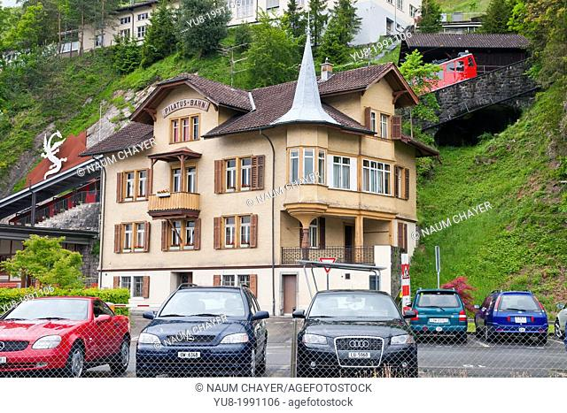 Alpnachstad building and the world's steepest cogwheel railway from Alpnachstad to Pilatus Kulm, Lucerne, Central Switzerland