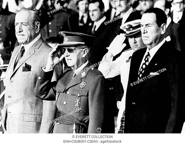 Juan Peron, Spain's Francisco Franco, and Argentine President Dr. Hector J. Campora. After 18 years of political exile, former President Peron returned to...