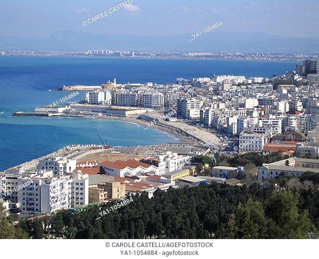 Overview of bay, west of Algiers town (Zighara), viewed from Notre Dame d Afrique basilica, Algeria, North Africa