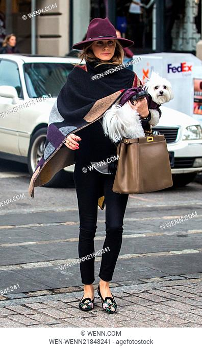 Olivia Palermo, looking stylish wearing a hat and a Burberry colour block check blanket poncho, running errands in Brooklyn with her dog Mr