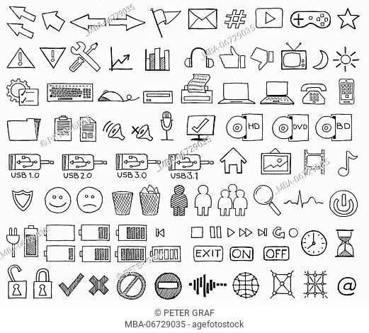 Collection of hand-drawn, black-and-white icons from the computer world