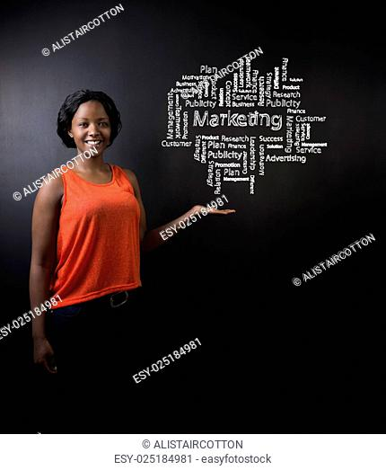 South African or African American woman teacher or student against blackboard marketing diagram