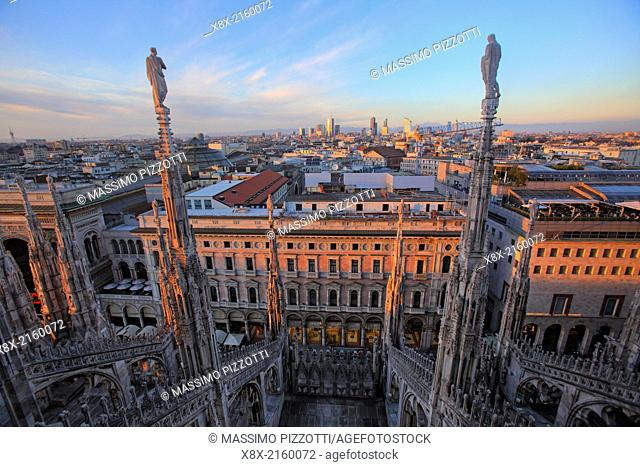 Cityscape of Milan from the top of the Cathedral (Duomo), Milan, Italy