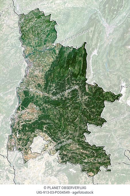 Departement of Drome, France, True Colour Satellite Image