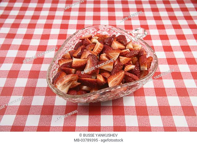 Table, tablecloth, glass tray, red-knows, Strawberries, bragged  Tablecloth, checkered, peel, dessert, dessert, strawberry peel, fruits, nutrition healthy