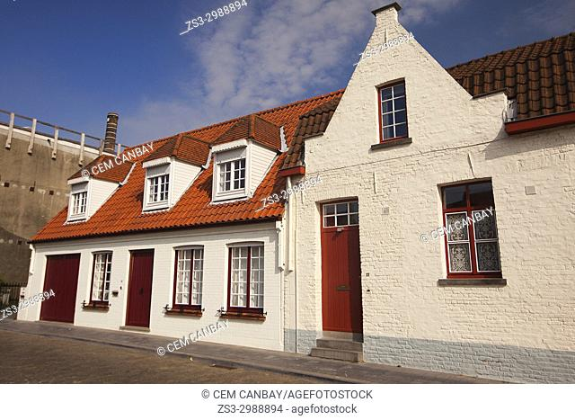View to the traditional houses near the canal in the city centre, Bruges, West Flanders, Belgium, Europe