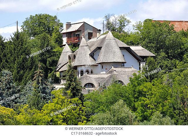 Mohacs, Hungary, Mohacs on the Danube, Transdanubia, Southern Transdanubia, Baranya county, residential building at the Danube riverbank